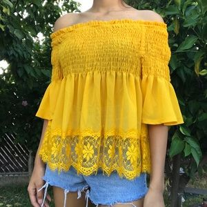 Tops - Yellow blouse top with lace